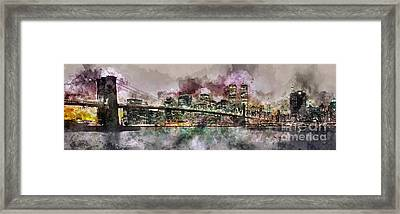 New York City Skyline Watercolor  Framed Print by Jon Neidert