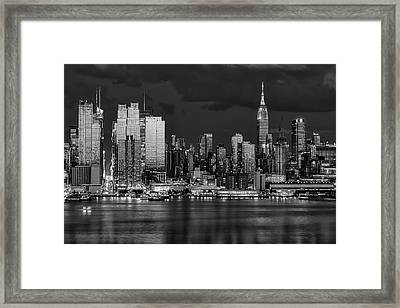 Framed Print featuring the photograph New York City Skyline Pride Bw by Susan Candelario