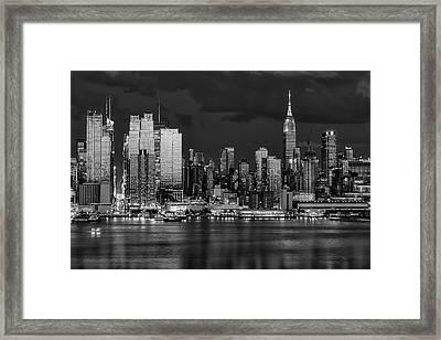 New York City Skyline Pride Bw Framed Print