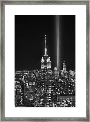 New York City Tribute In Lights Empire State Building Manhattan At Night Nyc Framed Print by Jon Holiday