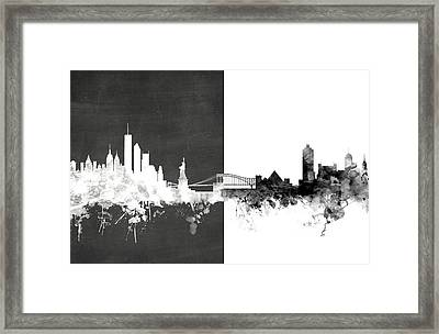 New York Memphis Skyline Mashup Framed Print