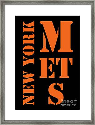 New York Mets Typography Framed Print by Pablo Franchi