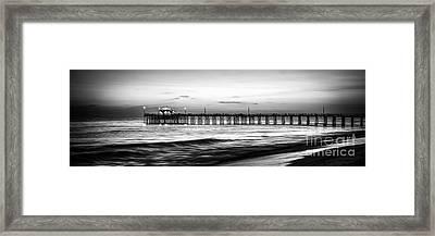 Newport Beach Pier Panorama Black And White Photo Framed Print