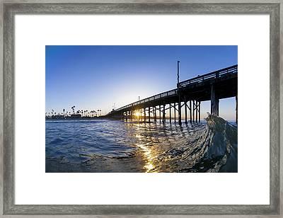 Newport Pier Curl Framed Print by Sean Davey