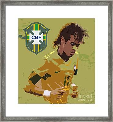 Neymar Art Deco Framed Print by Lee Dos Santos