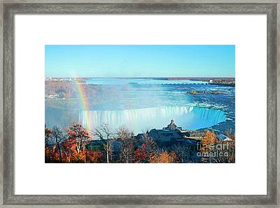 Framed Print featuring the photograph Niagara Falls Rainbow by Charline Xia