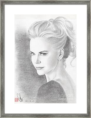 Framed Print featuring the drawing Nicole Kidman by Eliza Lo