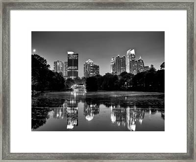 Night Atlanta.piedmont Park Lake. Framed Print by Anna Rumiantseva