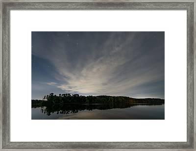 Night Sky Over The Lake Framed Print