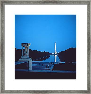 Night View Of The Washington Monument Across The National Mall Framed Print by American School