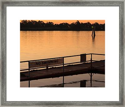 No Swimming Rio Vista Ca Framed Print by Troy Montemayor