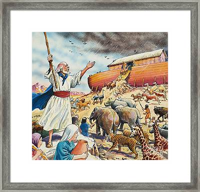 Biblical Scene  Noahs Ark Framed Print by English School