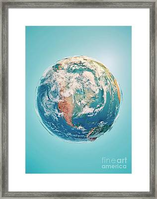 North America 3d Render Planet Earth Clouds Framed Print