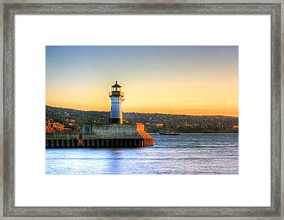 North Pier Lighthouse Framed Print by Bryan Benson
