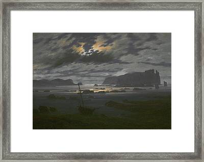 Northern Sea In The Moonlight Framed Print by Caspar David Friedrich