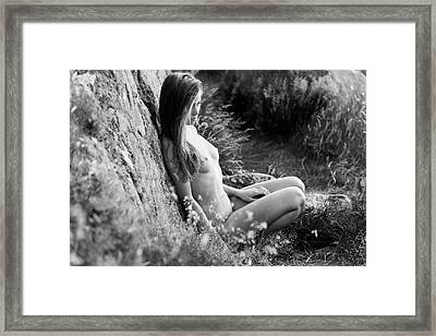 Nude Girl In The Nature Framed Print