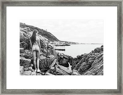Nude Girl On Rocks Framed Print