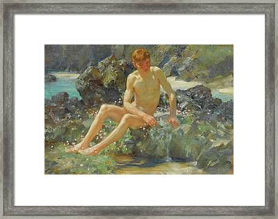 Nude On The Rocks Framed Print