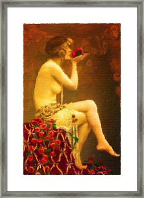 Nude Study By Frank Falcon Framed Print by John Springfield