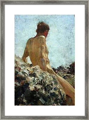 Framed Print featuring the painting Nude Study by Henry Scott Tuke
