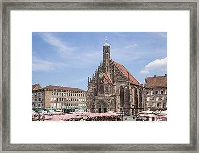 Nuremberg Church Of Our Lady And Main Market Framed Print by Melanie Viola