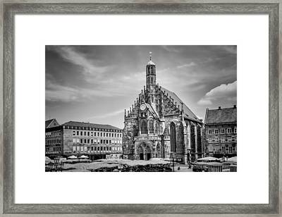 Nuremberg Church Of Our Lady And Main Market Monochrome Framed Print by Melanie Viola