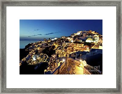 Oia Night View Framed Print by Gualtiero Boffi
