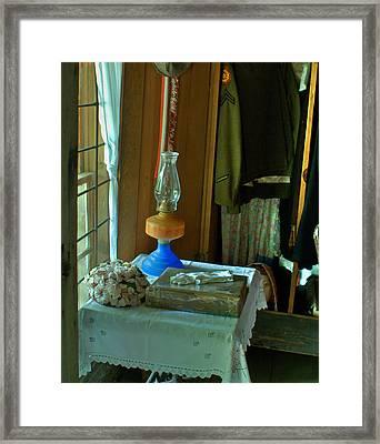 Oil Lamp And Bible Framed Print by Douglas Barnett