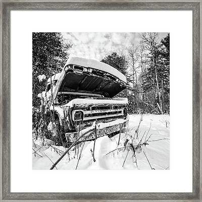 Old Abandoned Pickup Truck In The Snow Framed Print