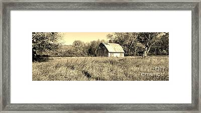 Old Barn In The Meadow Framed Print