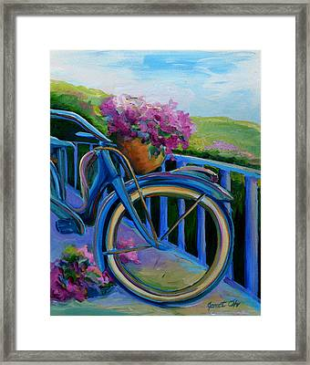 Old Bicycle On The Front Porch Framed Print by Janet Oh