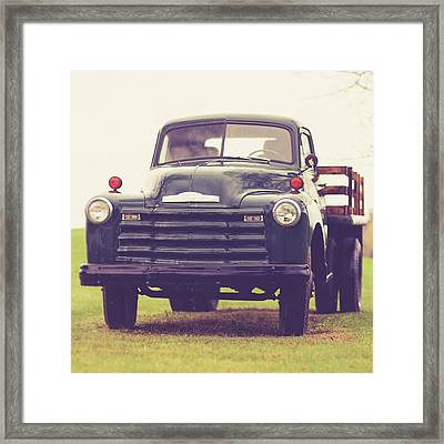 Old Chevy Farm Truck In Vermont Square Framed Print