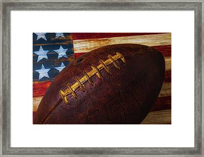 Old Football Close Up Framed Print by Garry Gay