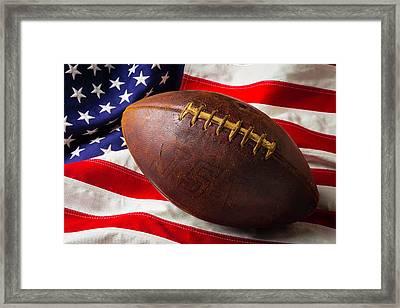 Old Football On American Flag Framed Print