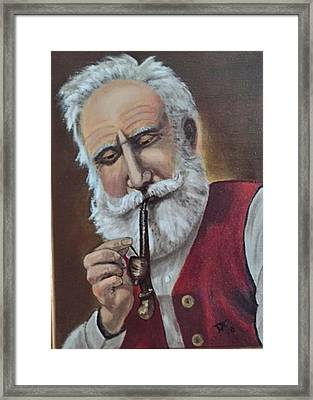 Old German With Pipe Framed Print