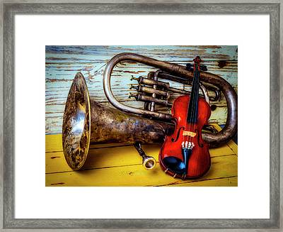 Old Horn And Violin Framed Print