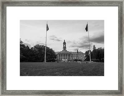 Old Main Penn State Black And White  Framed Print by John McGraw
