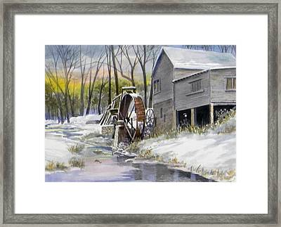 Old Mill In Winter  Sold Framed Print