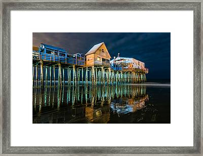 Old Orchard Dock Night Reflection Framed Print