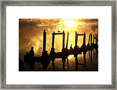 Old Pier At Sunset Framed Print by Marty Koch