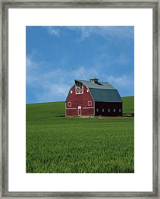Old Red Barn In The Palouse Framed Print by James Hammond