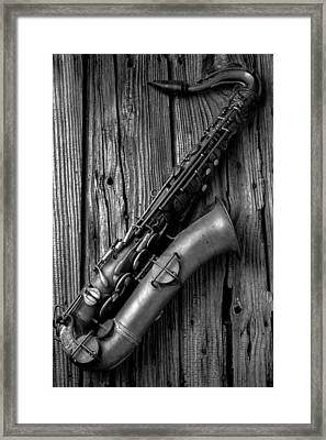 Old Sax Framed Print by Garry Gay