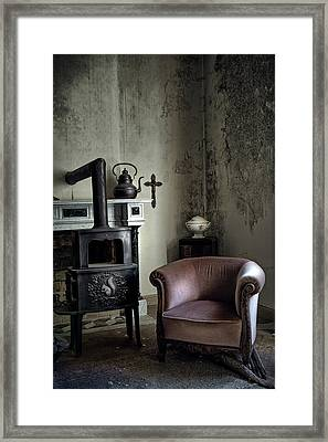 Old Sofa Waiting - Abandoned House Framed Print by Dirk Ercken