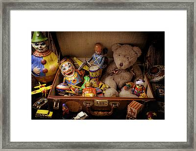 Old Toys In Suitcase Framed Print by Garry Gay
