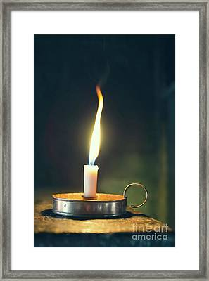 Old Wax Burning Candle Framed Print
