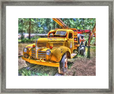 Old Yellow Dodge  Framed Print by Peter Schumacher