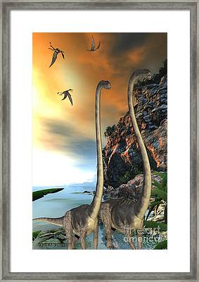 Omeisaurus Dinosaurs Framed Print by Corey Ford