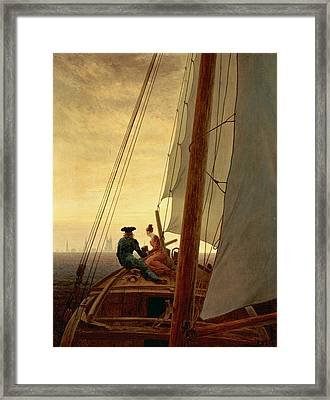 On A Sailing Ship Framed Print by Caspar David Friedrich
