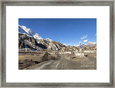 On The Annapurna Circuit Trekking Near Manang In Nepal Framed Print