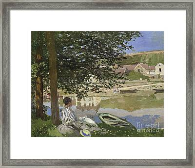 On The Bank Of The Seine, Bennecourt Framed Print by Claude Monet